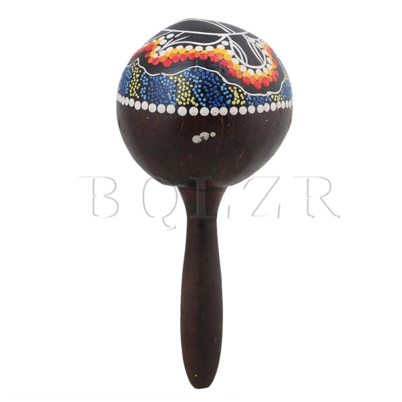 23x10x2.6cm Painted Maraca Handle Wood Coconut Shell Percussion Shaker - intl