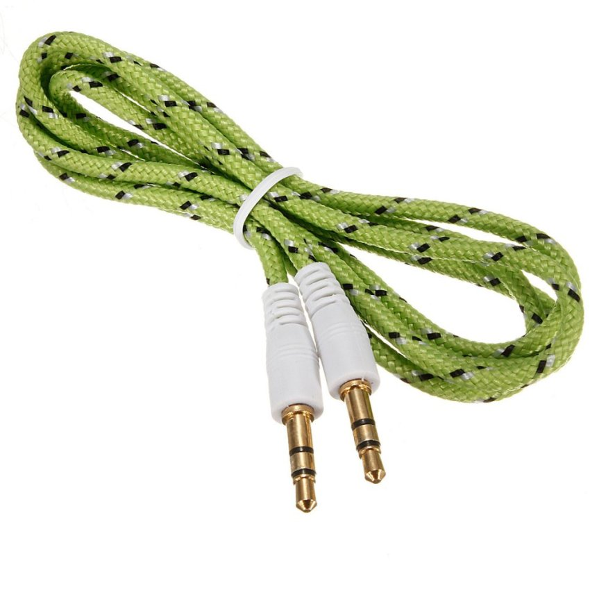 3.5mm Male to Male Stereo AUX Braided Car Cable Stereo Audio Adapters MP3 ipod (Green) - Intl