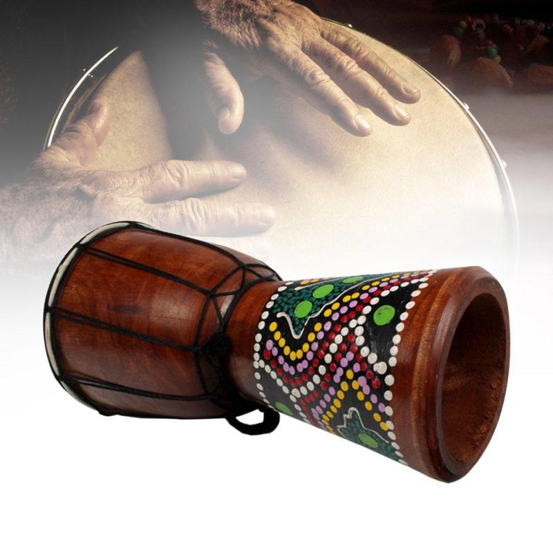 4 Inch African Djembe Percussion Mahogany Hand Drum with Goat Skin Surface - intl