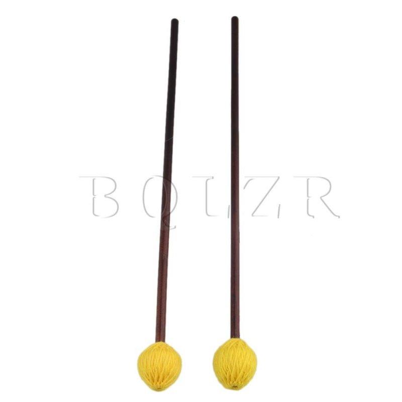 42.6cm Medium Hard Yellow Mushroom Yarn Maple Marimba Mallets Set of 2 - intl