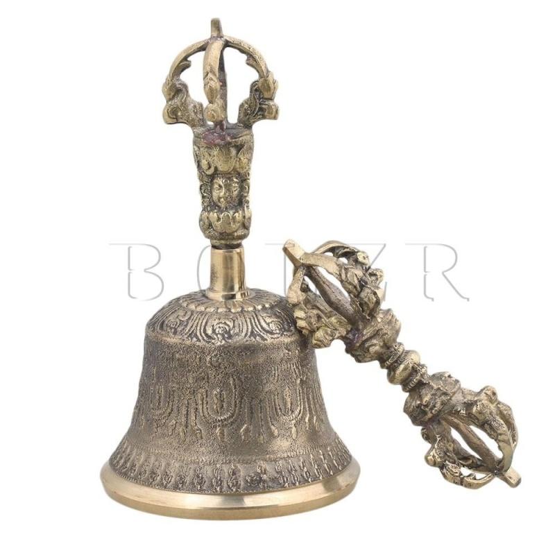 7.8cm Dia Medium Tibetan Meditation & Prayer Bells Golden Color - intl