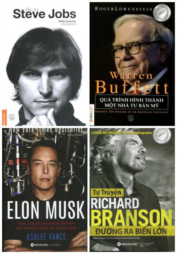 Bộ 4 cuốn: Tiểu Sử Steve Job, Elon Musk, Warren Buffett, Richard Branson