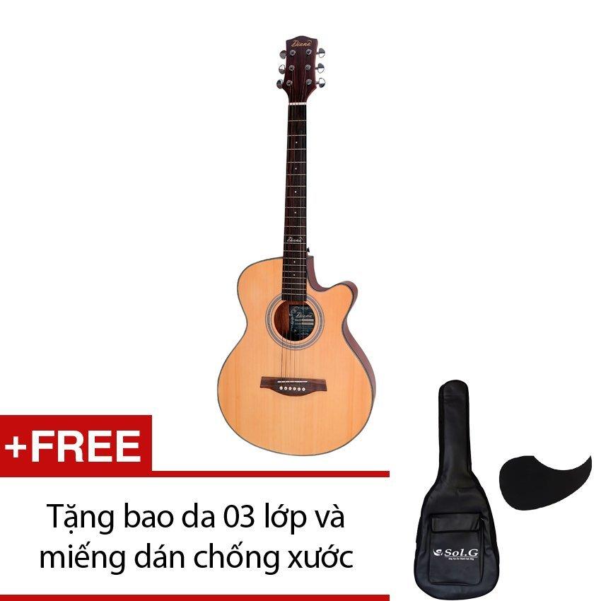 Đàn guitar acoustic Diana D815NM + Tặng 1 bao da 03 lớp và 1 miếng dán chống xước