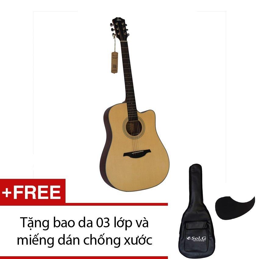 Đàn guitar acoustic Rex D1C NM + Tặng 1 bao da 03 lớp và 1 miếng dán chống xước