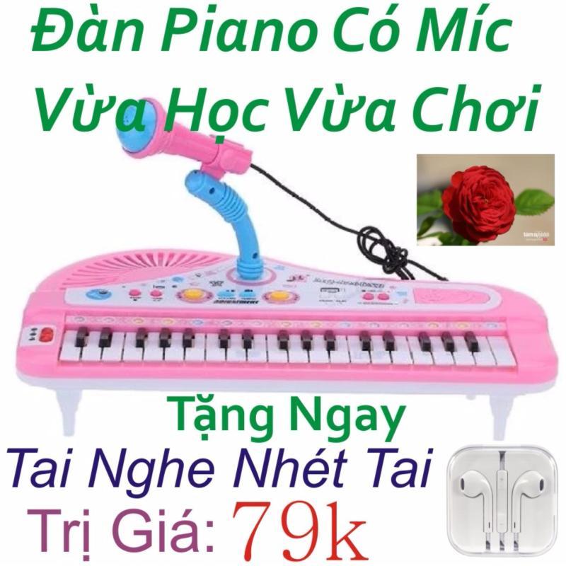 Đàn Piano Mini Có Míc Cho Bé Chất Lượng Âm Thanh Hay Loại Mới ( Hồng ) + Tặng Ngay Tai Nghe Nhét Tai Trị Giá 79k