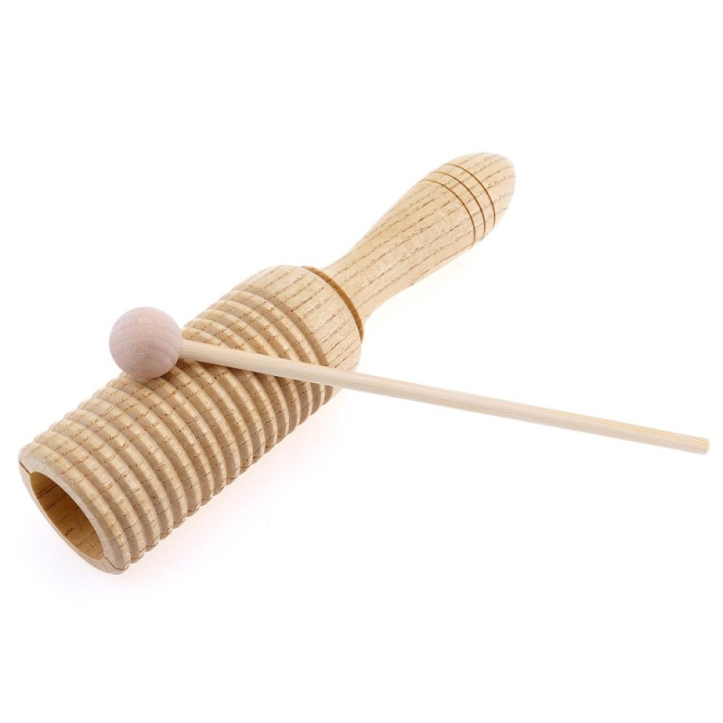 Eco-Friendly Sound Tube Wooden Crow Children Gift Pine Wood Sounder Musical Toy Percussion Education Instrument with Stick - intl