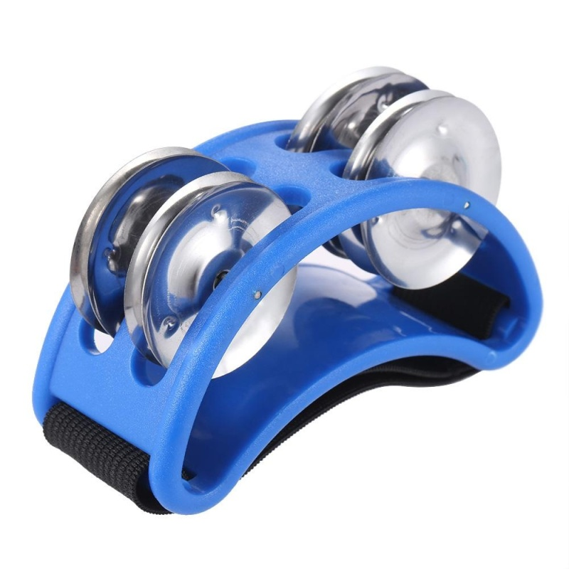 Foot Tambourine Percussion Musical Instrument 2 Sets Metal Jingle Bell Blue - intl