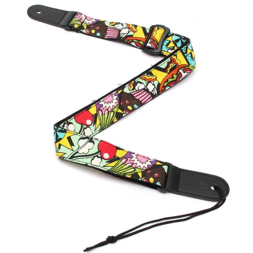 Guitar Strap Belt Colorful Print Denim Adjustable For Ukulele Hawaii Guitar (S18-N Hamburg) - Intl