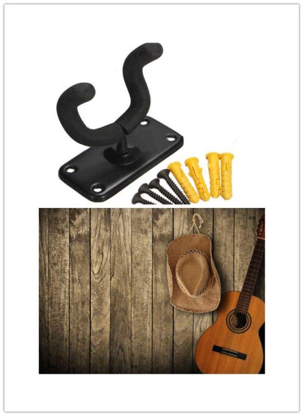 Guitar Wall Mount Hanger Holder Stand Rack Hooks Fits Most Guitar Bass Mandolin - Intl