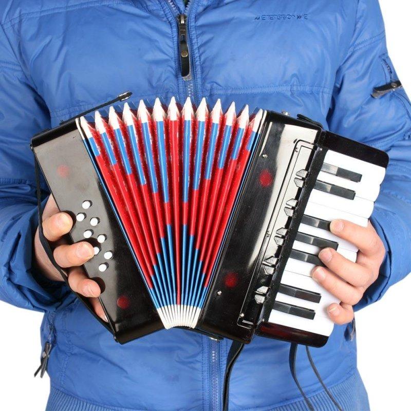 Kids Children 17-Key 8 Bass Mini Small Accordion Educational Musical Instrument Rhythm Band Toy Black Outdoorfree - intl
