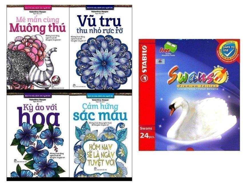 Sách tô màu dành cho người lớn (Bộ 4 Cuốn) + Chì Màu Stabilo Swans CL1869-24 - Valentina Harper và Ngân Mai