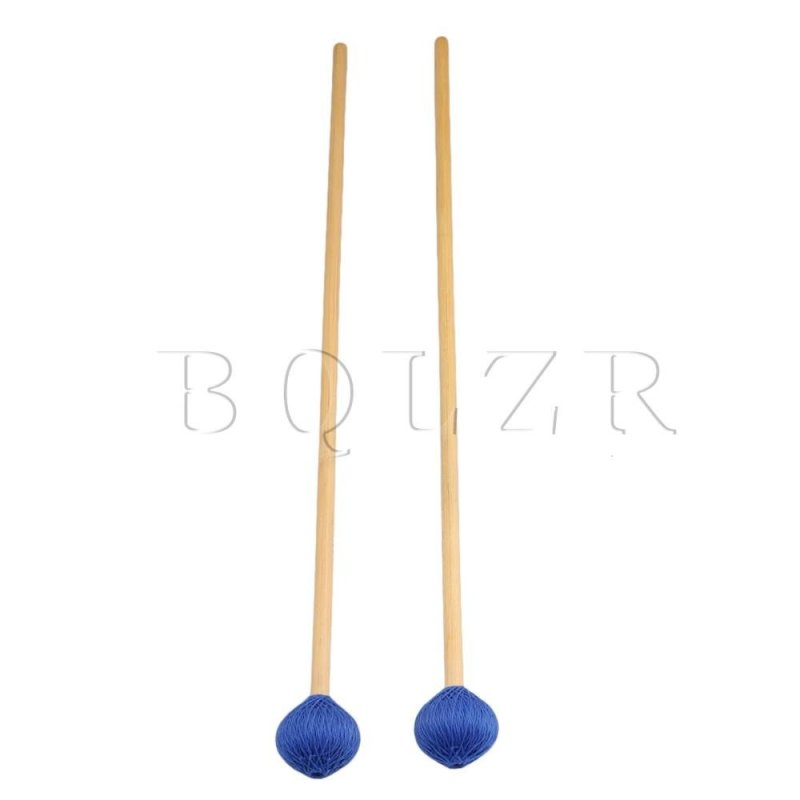 Woolen Yarn Head Hard Keyboard Marimba Mallets Set of 2 Blue - intl