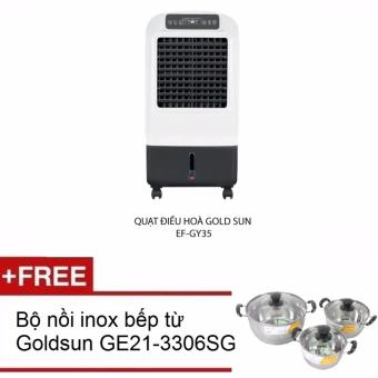 Quạt điều hòa Goldsun EF GY35 Tặng Bộ nồi inox dùng được bếp từ GE21