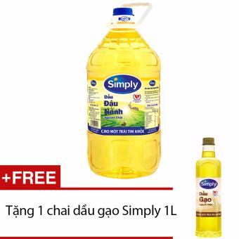 Dầu nành Simply 5L tặng 1 chai dầu gạo Simply 1L