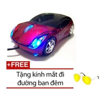 Chuột máy tính hình ô tô Protab đỏ Tặng 1 mắt kính đi đường