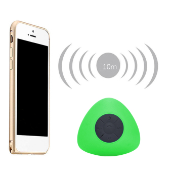 Mini Triangle Wireless Bluetooth Waterproof Hands free Shower Bath Speaker with Suction Cup for iPhone 6 6S Samsung Note 4 Note 3 Galaxy S7 Green intl