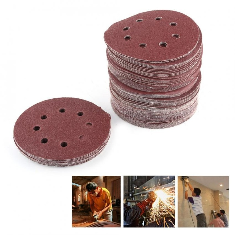 "100pcs 8 Holes 5"" Round Polishing Sandpaper Discs Sanding Sheet 60/80/100/120/240 Grit - intl"