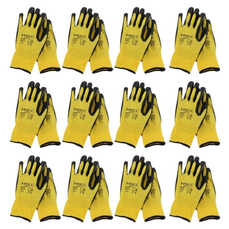 12Pairs PU Nitrile Coated Safety Work Gloves Garden Builders Grip Anti-slip Size XL - intl