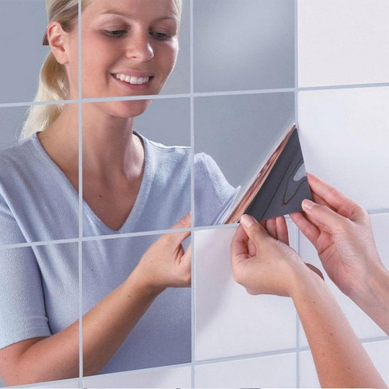 16 Pcs Squares Mirror Wall Waterproof Self-adhesive Mirrors Kitchen Bathroom Decorate size:0.2mm - intl