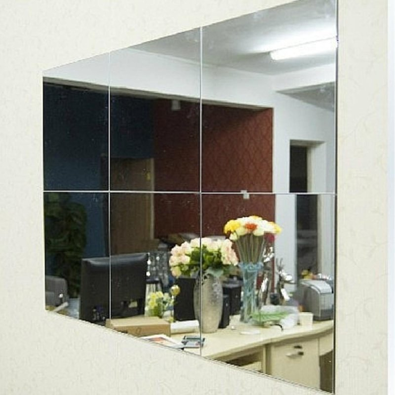 16Pcs Bathroom Square Removeable Self-adhesi ve Mosaic Tiles Mirror Wall S tickers Home Decor - intl