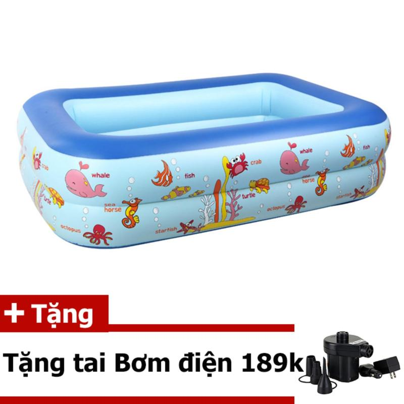 Bể bơi 2 tầng cho trẻ em tặng bơm đện tiện dụng