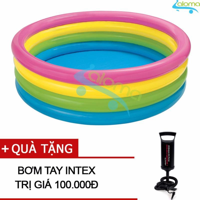 Bể bơi bơm hơi 1,7m 4 tầng cầu vồng Intex 56441 tặng bơm tay