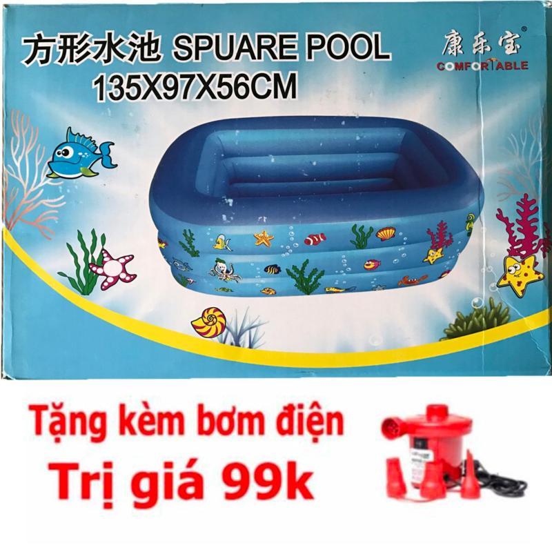 Bể bơi bơm hơi 3 tầng kích thước 135x97x56 tặng bơm hơi