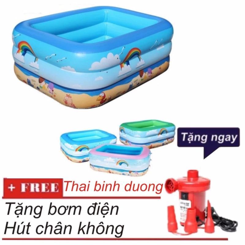 Bể bơi phao 3 tầng cho bé cỡ 130 x 90 x 55cm + Tặng Bơm điện