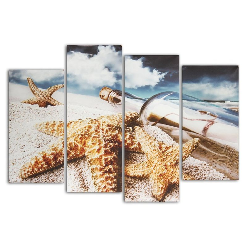 Beach Starfish Drift Bottle Picture Canvas Painting Modern Wall Decor 4 Panel