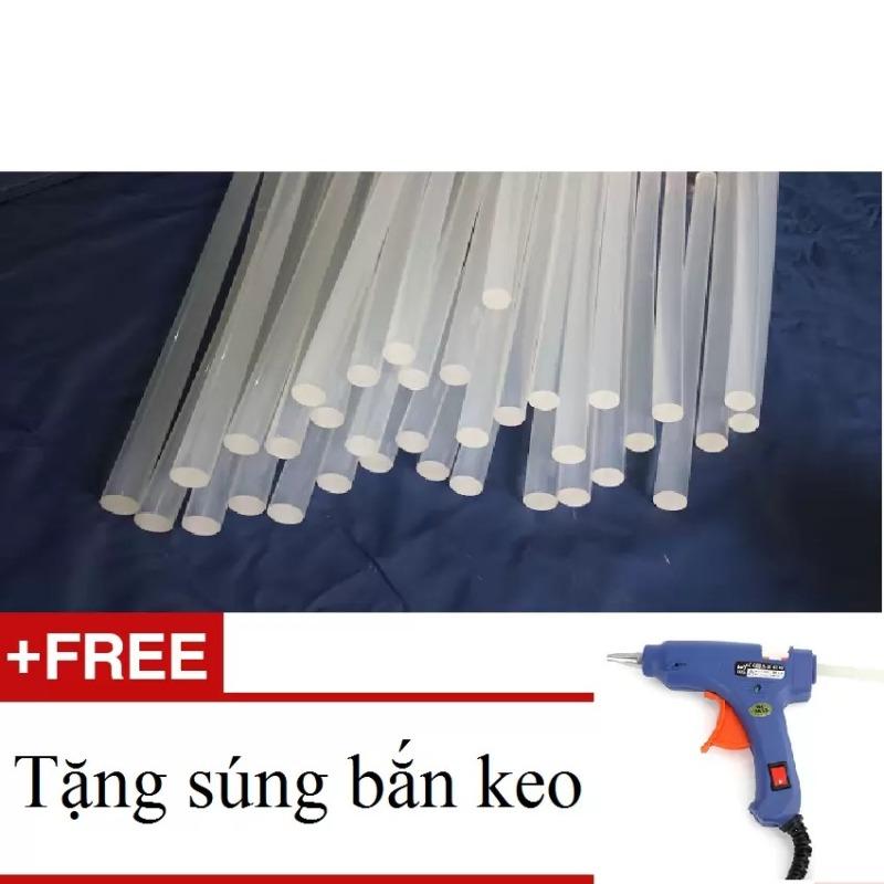 Bộ 10 Keo Cây Silicon - Keo nến (Trắng) + Tặng Súng bắn keo silicon