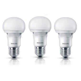 Bộ 3 bóng đèn Philips Ecobright LEDBulb 5 60W E27 3000K A60 Ánh sáng vàng