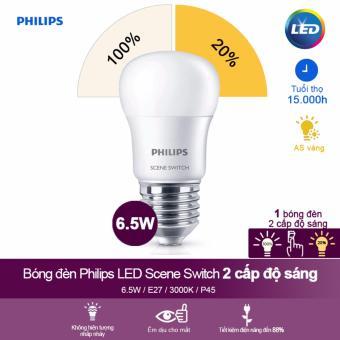 Bóng đèn Philips LED Scene Switch 2 cấp độ chiếu sáng 6 5W 3000K đuôi E27 P45 Ánh sáng vàng