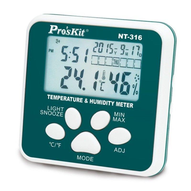 Đồng hồ đo nhiệt độ độ ẩm Pro'skit NT-316 (Trắng phối xanh)