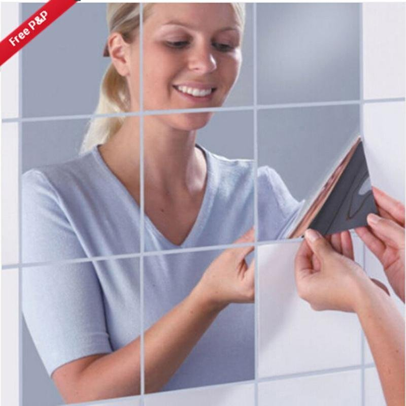 Hang-Qiao 7Pcs Bathroom Square Removeable Mosaic Tiles Mirror Wall Stickers Home Decor (Silver) - intl