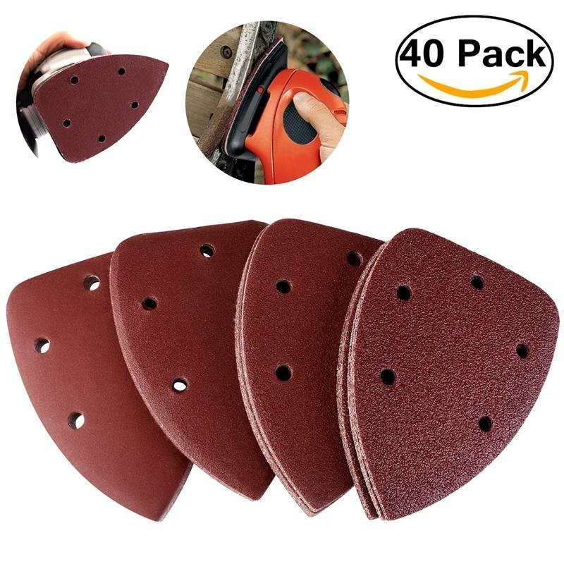 PIXNOR 40pcs Grit 14cm Mouse Sander Pads Sanding Sheets Discs Velcro Mixed 40 80 120 240 - intl