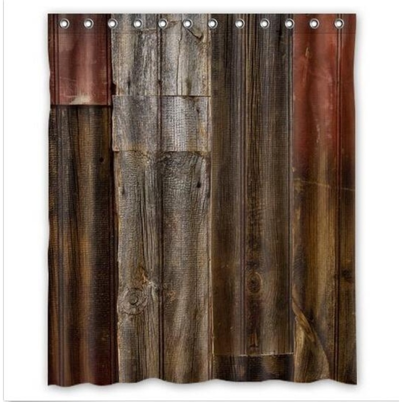 Rustic Old Barn Wood Waterproof Polyester Shower Curtain 60x72 Inch +12 hooks