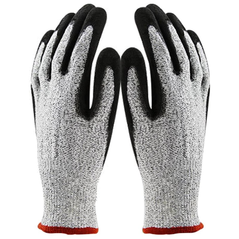 Safety Stab Cut Resistant Kitchen Gloves with Level 5 Protection for Cutting Metalworking Yard Work Red Opening Size XL - intl