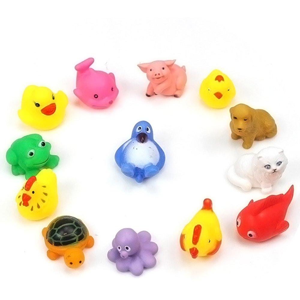 13Pcs Rubber Float Sound Baby Bath Play Animals Toys - intl
