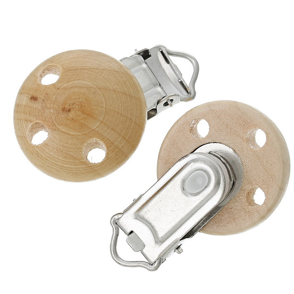 2 PCS Children Kids Babies Wooden Round Shape Pacifier Clips Soother Clasps with Metal Holders