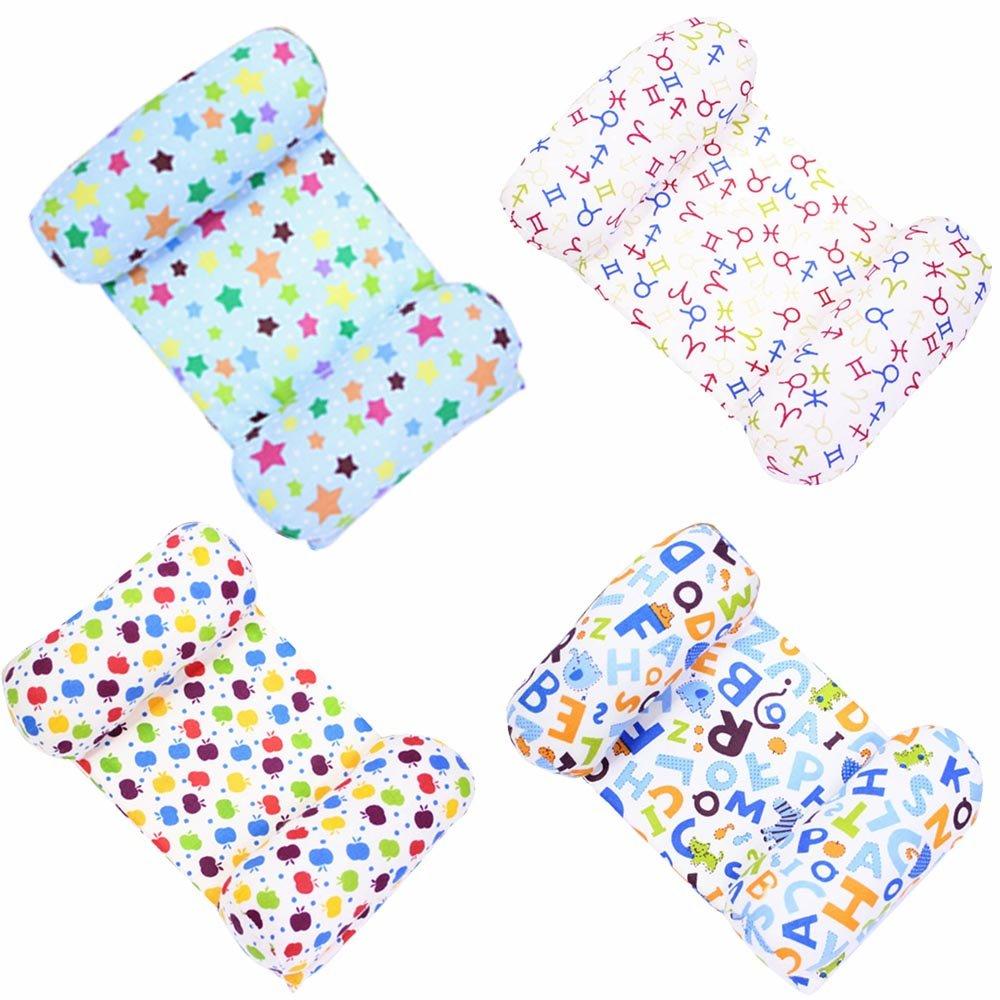 Baby Infant U Shape Adjustable Cotton Prevent Flat Head Bloster Pillow with Detachable Summer Sleeping Mat Quantity 1 Random Color
