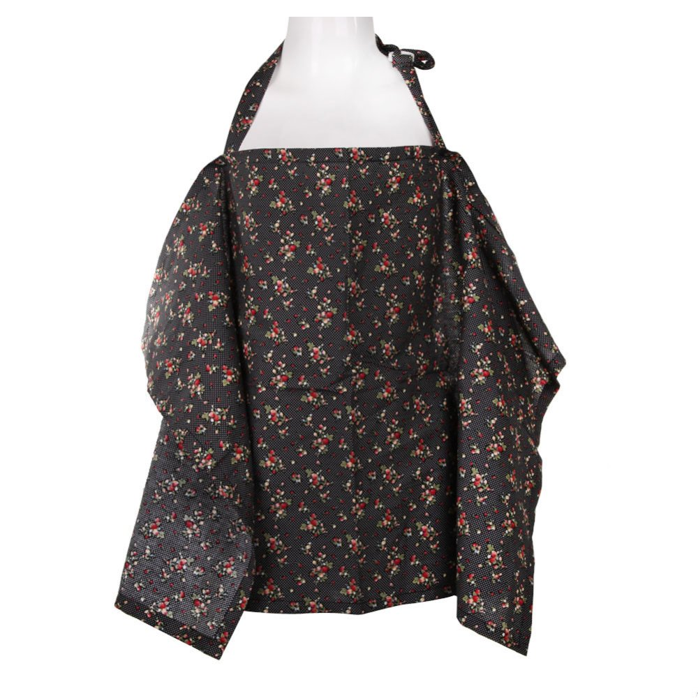 Baby Mum Breastfeeding Nursing Poncho Cover Up Cotton(Black Cherry)