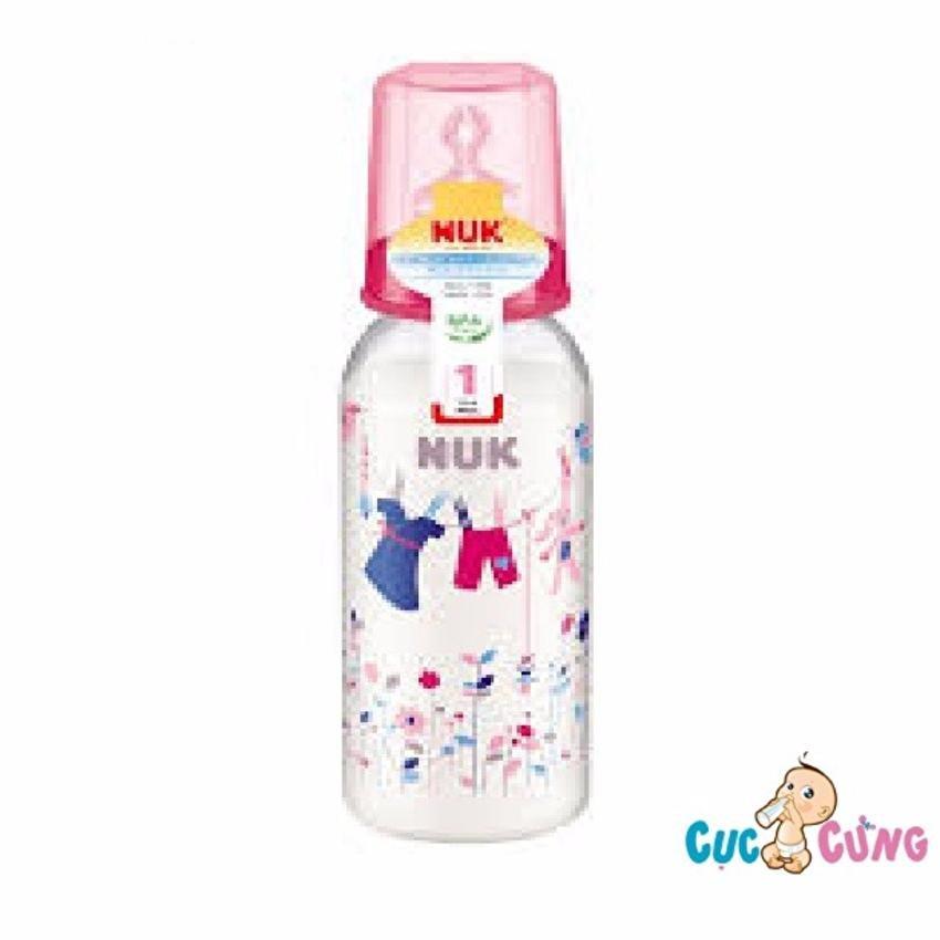 Bình sữa Nuk nhựa cổ thường 240ml ty silicone (Hồng)