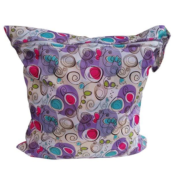Bluelans Baby Nappy Reusable Washable Wet Dry Cloth Waterproof Diaper Bag Purple (Intl)