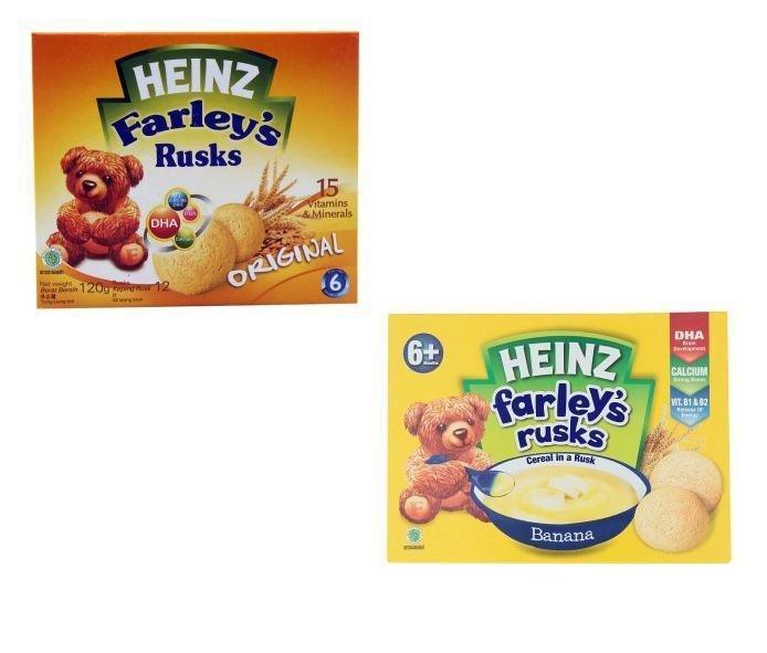 Bộ 2 hộp bánh ăn dặm Heinz Farley's Rusks chuối – original (120gx2)