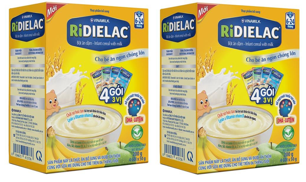 Bộ 2 hộp bột ăn dặm RIDIELAC 4 GÓI 3 vị ngọt hộp 4 gói x 50g