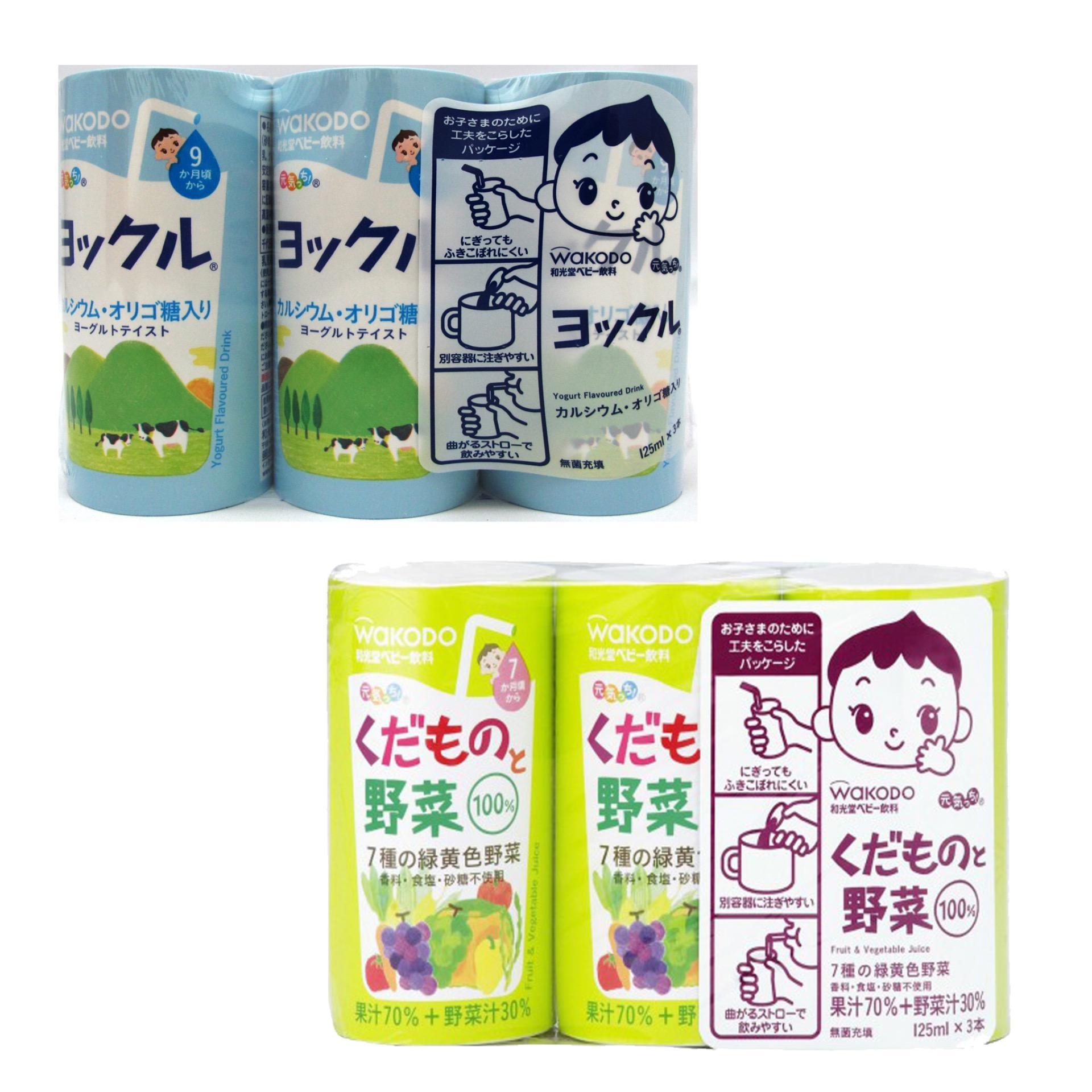 Bộ 2 Lốc 6 hộp nước ép Wakodo hoa quả tổng hợp 15047 và sữa chua 13430 (125mlx6)