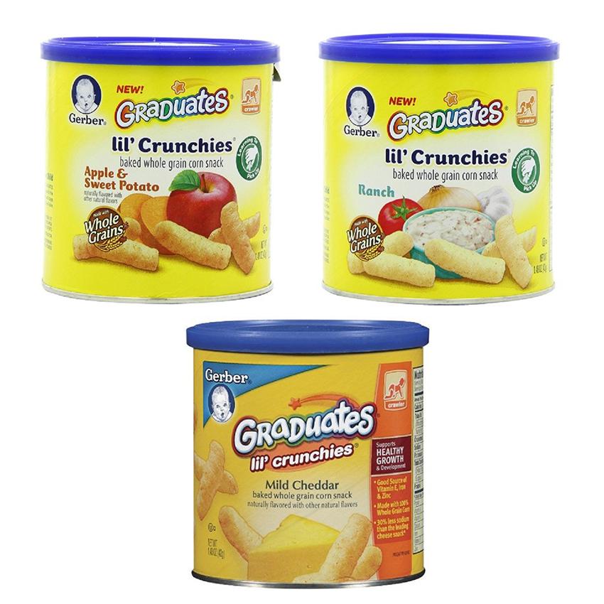 Bộ 3 Bánh ăn dặm Gerber Graduates Lil' Crunchies (vị táo, khoai lang, phomai Cheddar, củ hành)
