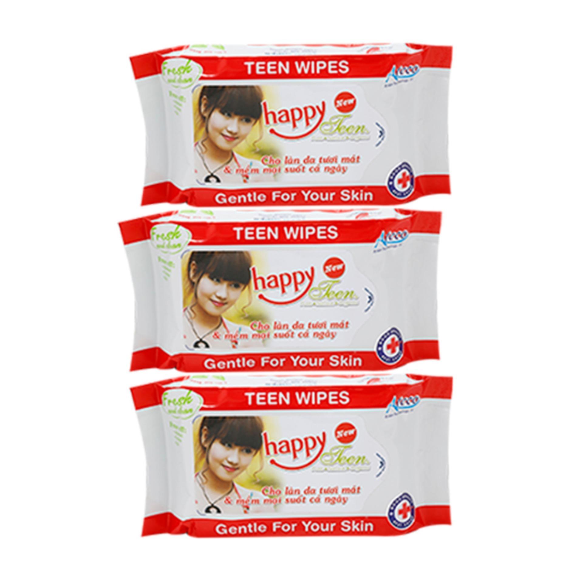 Bộ 3 gói khăn ướt 10 tờ Happy Teen (Đỏ)