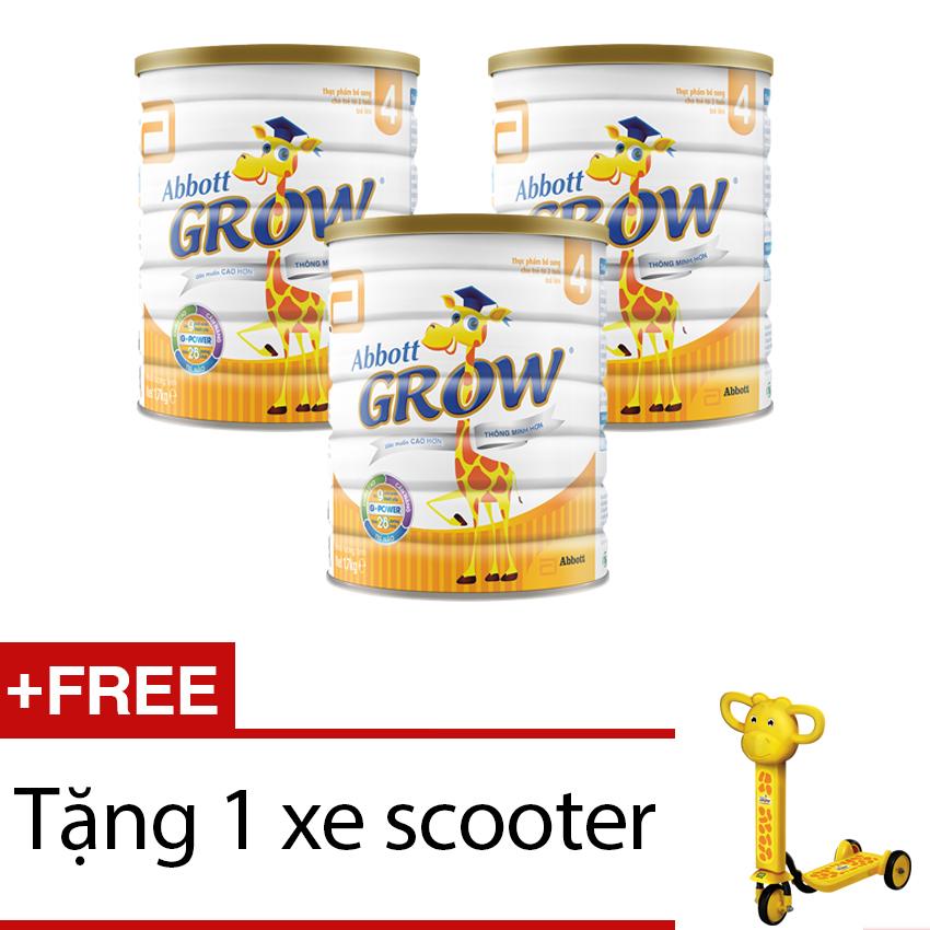 Bộ 3 sữa bột Abbott Grow 4 ( G-Power) Hương Vani 1,7KG + Tặng 1 xe scooter