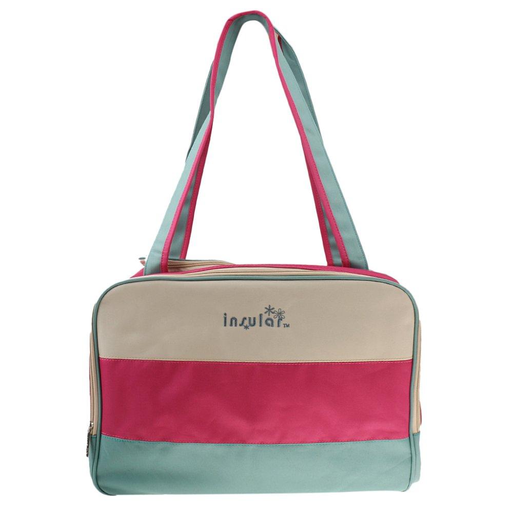 BolehDeals Multifunction Color Block Organiser Mummy Handbag Baby Nappy Bag Rose red - intl